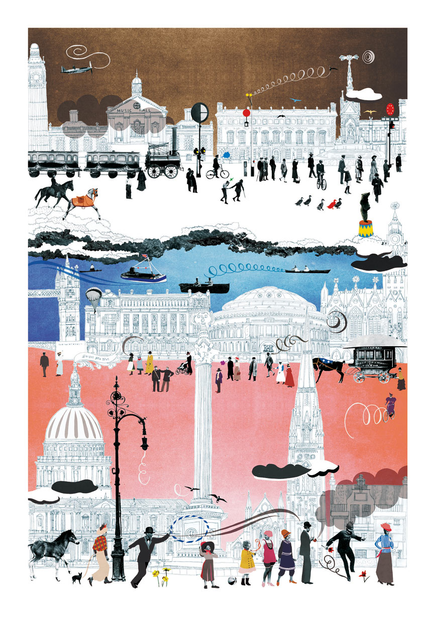 """London"" by Natsko, a Tokyo-born, Brighton-educated, London-based illustrator who is currently in residence at T.H.I.S."