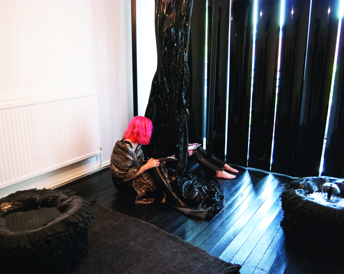 Elena Colman transformed her flat for a performance in collaboration with Rebecca Jagoe and Beth Bramich entitled RUBBER in October 2015