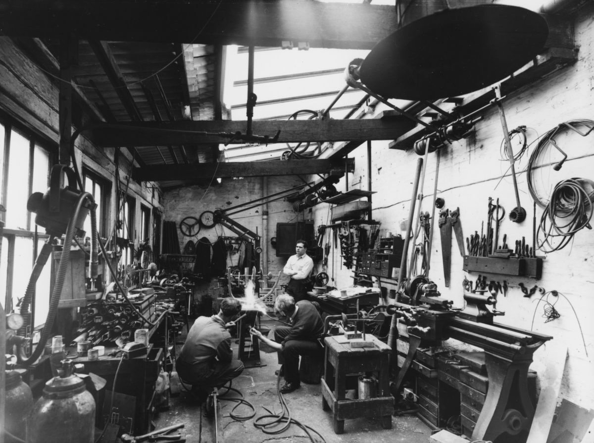 Eduardo Paolozzi at the Morris Singer Foundry in 1957 (via Sneaky)